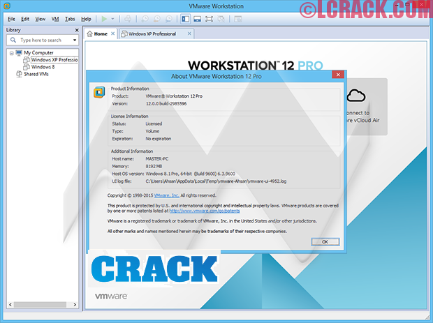 VMware Workstation 12.5.2 Pro Crack + Key + Keygen