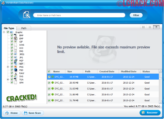 Wondershare Data Recovery 5.0.7.8 Final Crack + Keygen