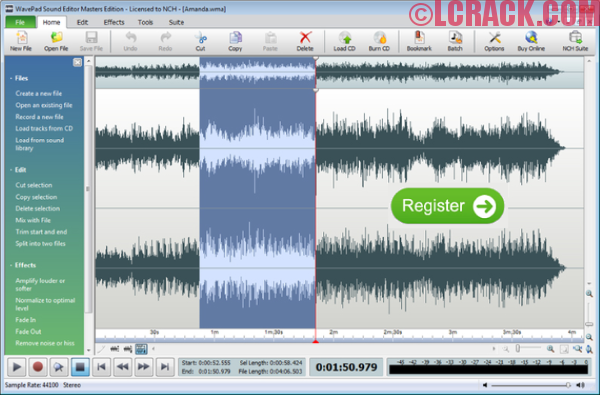 WavePad Sound Editor 7.03 Crack Registration Code